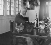 Ernest Hemingway with cat - Cuba 1956