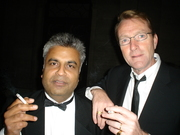 Ali Karim and Lee Child taking a smoke break from the Awards