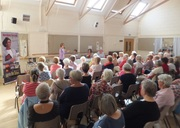 Pauline Rowson talking to a packed Emsworth WI about her crime novels