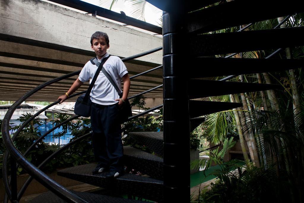 Una escalera de caracol