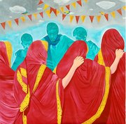 Title - THE FESTIVAL OF BOADY. Medium - ACRYLIC. Surface - CANVAS. Size - 60x60inches. Executed - 2008. Price - Rs. 85000.00