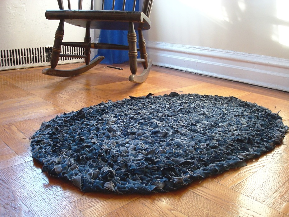 Recycled Blue Jean Rag Rug