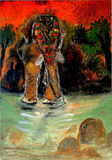 elephants by water in south india - ORIGINAL PAINTING