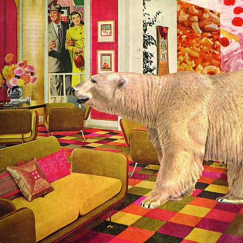 polar bear roomscape collage