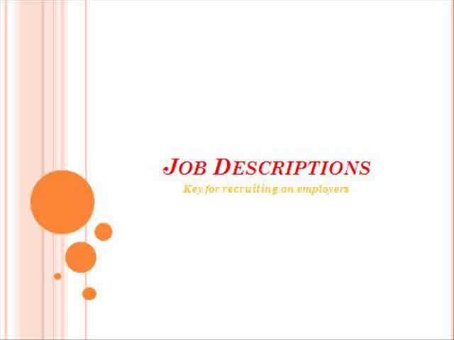 Job Description - Key for Recruiting an Employee
