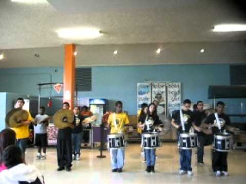 Sam Houston High School T.H.D. Drumline Performing at lunch