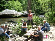 Some of the gang on lunch break South Fork
