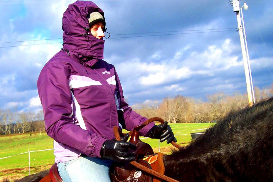 Ruth, never too cold for a ride