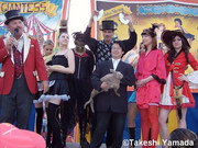 Dr. Takeshi Yamada, Seara (sea rabbit) and the crew of John Strong circus sideshow on the bally stage at Dreamland Amusement Park in Coney Island, Brooklyn, New York (May 25, 2009)
