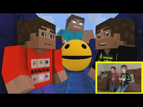Minecraft vs Pacman vs Real Life. Fight to the finish in Herobrine's challenge.