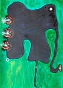 elephant whit blu eyes  mixed media on paper cm 70 x 50 2011 piccolo
