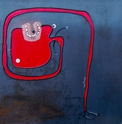 red contortionist mixed media on iron steel  cm 50 x 50 2012 piccolo