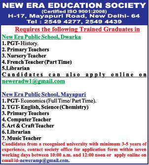 New Era Education Society New Delhi Recruitment for