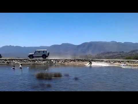 Tow surfing behind a G-wagen
