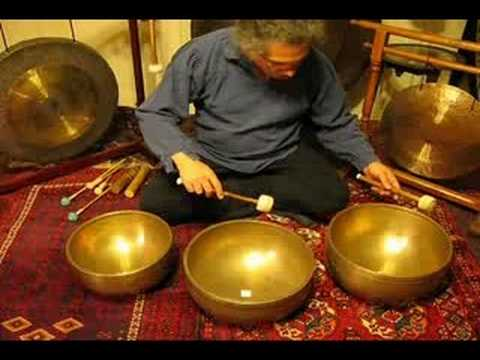 Meditation with 3 Giant antique Tibetan Singing Bowls