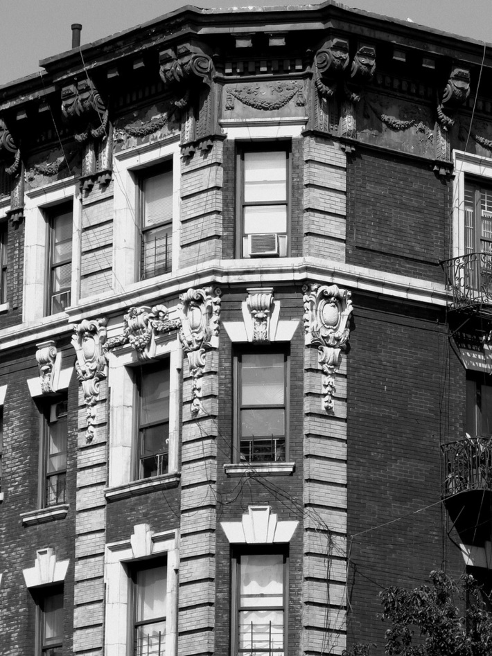 Windows and sculpture in Harlem.