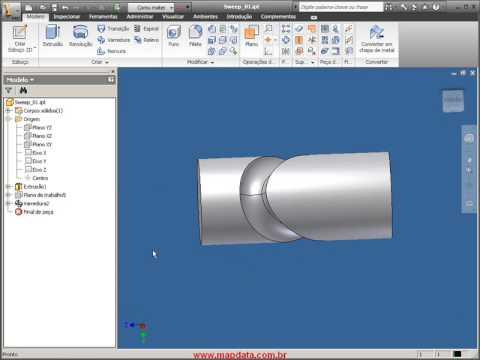 Autodesk Inventor 2010 - Tutorial comando Sweep (varredura)