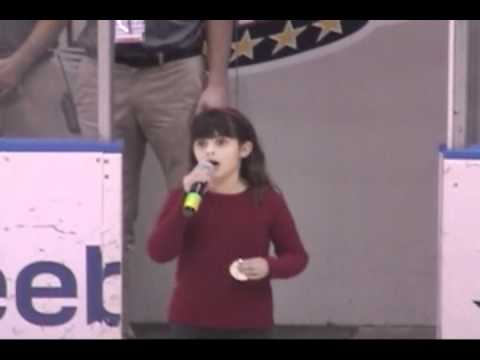 Elizabeth Hughes, 8 years old,  National Anthem, Norfolk Admirals Game, Scope Arena