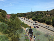 The proposed trail on the eastern hillside of S. La Brea Ave.