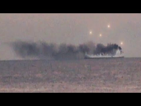 UFO SIGHTING UFOs APPEAR OVER SMOKING SHIP IN CALIFORNIA, SEPTEMBER 2013