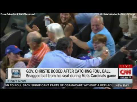 Governor Chris Christie Booed After Catching Foul Ball. #ChrisChristie #NewJersey
