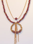Garnet and Gold Nugget Necklace