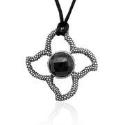 "Sterling Silver Oxidized Stone in Stars Designer Pendant with 16mm Faceted Black Onyx on 30"" Silk Cord - SS-4008XDOX"