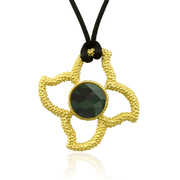 "18K Gold over Sterling Silver Stone in Stars Pendant featuring a 16mm Faceted Faux Green Mint Quartz on 30"" Silk Cord - SS-4008YGQ"