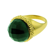 18K Gold over  Sterling Silver Designer Stone in Star Ring with 16mm Green Quartz - SS-1320YGQ