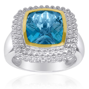 18K Gold over Sterling Silver Two Tone Beaded Square Ring with 10mm Blue Topaz - SS-1378TBT