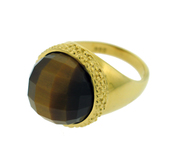 18K Gold over  Sterling Silver Designer Stone in Star Ring with 16mm Tiger's Eye -SS-1320YTE