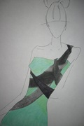 Teal Dress w/ black raped fabric