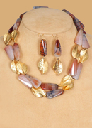 2 Pc Mixed Agate & Gold Plated Silver Leaves