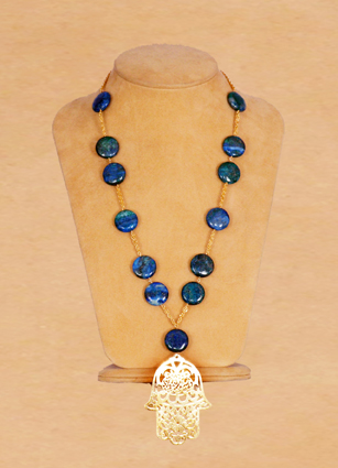 Blue Azurite Stone Long Necllace Gold Lg Hand