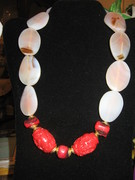 GENUINE AGTATE, & NATURAL CORAL BEADS