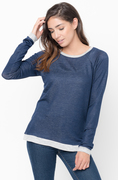 Shop for Navy Color Block Two Tone Pullover Lightweight Crew Neck On #Caralase