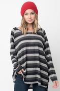 Shop for Black Hi Lo Long Sleeve Dolman Striped Sweater Tunic on #Caralase