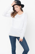 Shop for White Color Block Two Tone Pullover Lightweight Crew Neck On #Caralase