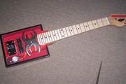 open concept black widow  red velvet cigar box guitar.5