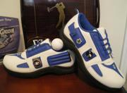 blue and white new golf shoe