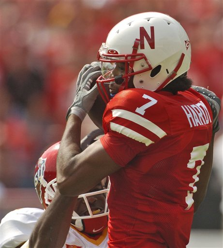 Frantz Hardy catches a pass for the Huskers