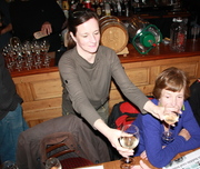 Janey handing out glasses of Kilburn apple wine