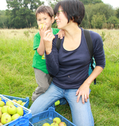 Mum and son with apple