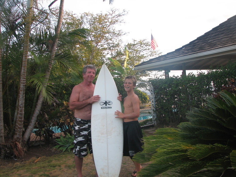 The surfboard we won at the surf contest!