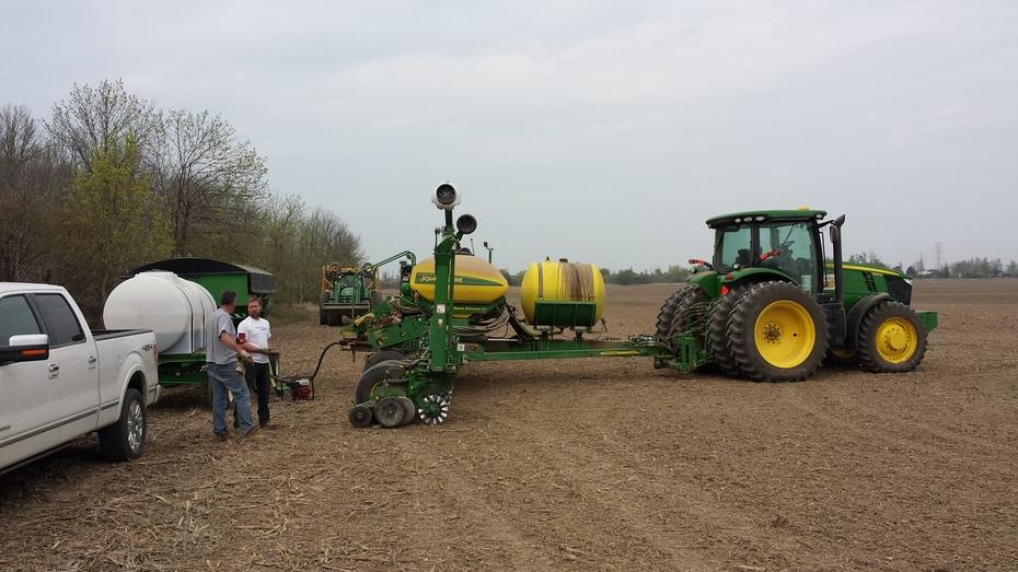 Reloading the corn planter.
