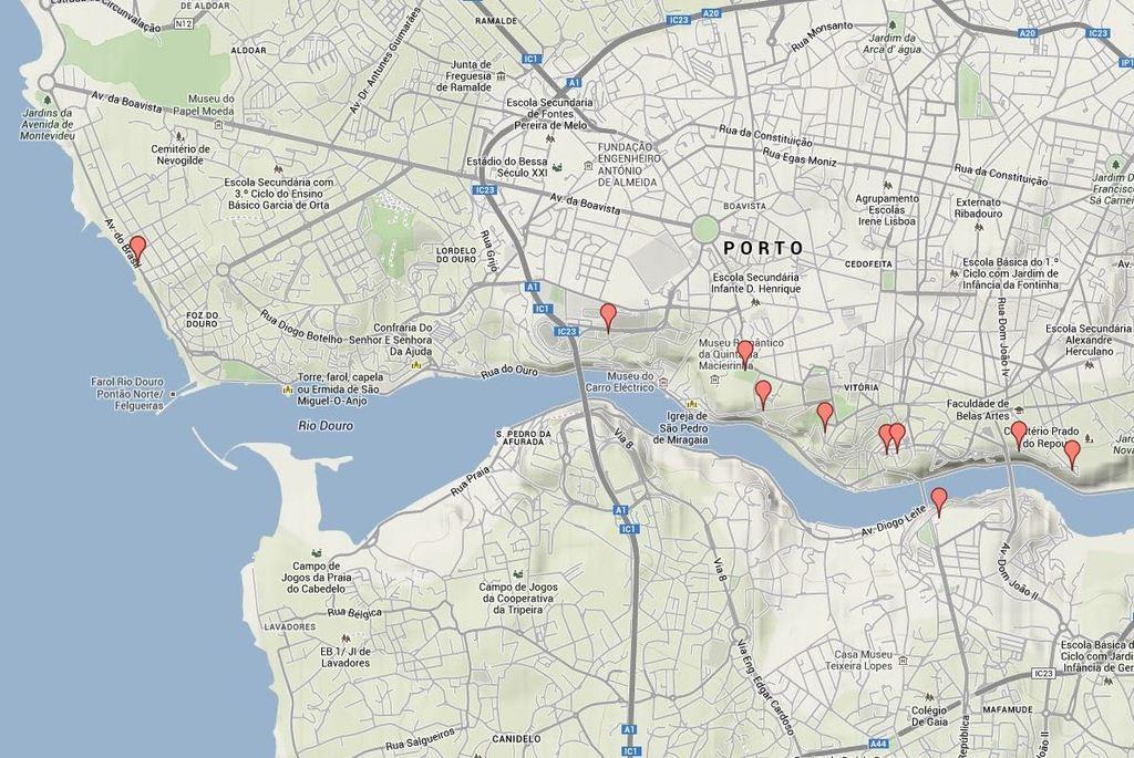 Mapa de miradouros para ver a cidade