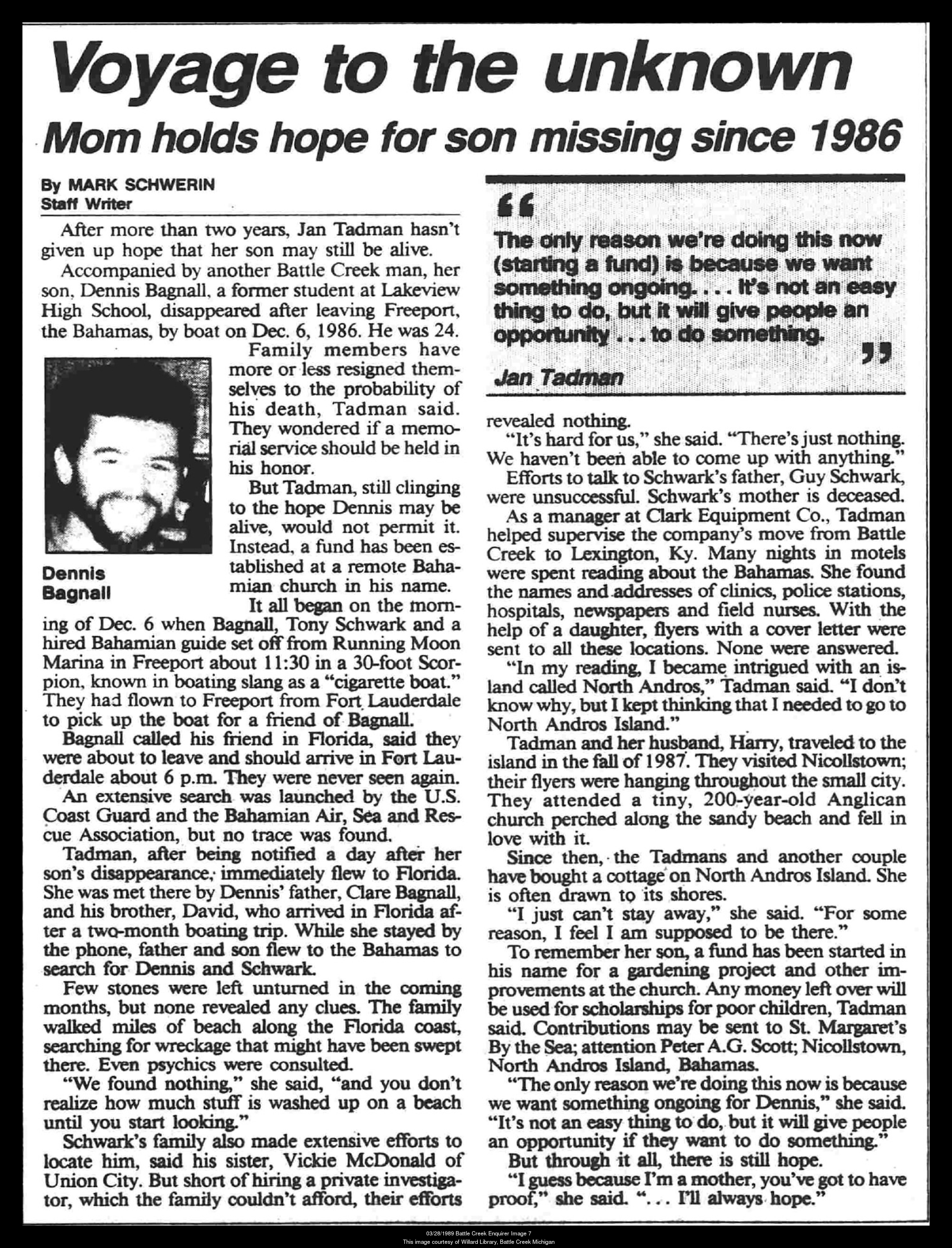 Only article written about Dennis, Tony, Bobby.  Dennis mom Jan did the interview.