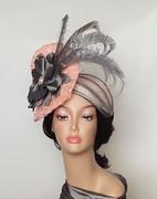 peach and gray Headpiece