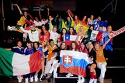 Miss World team rehearse for the World Cup opener at SABC TV studios