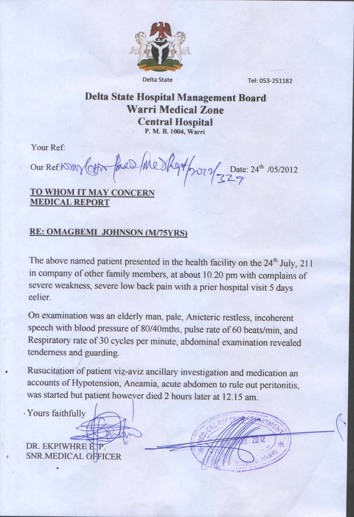 Medical Report of Pa Awanomere Omagbemi